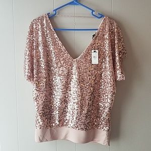 NWT Express blush colored sequined top